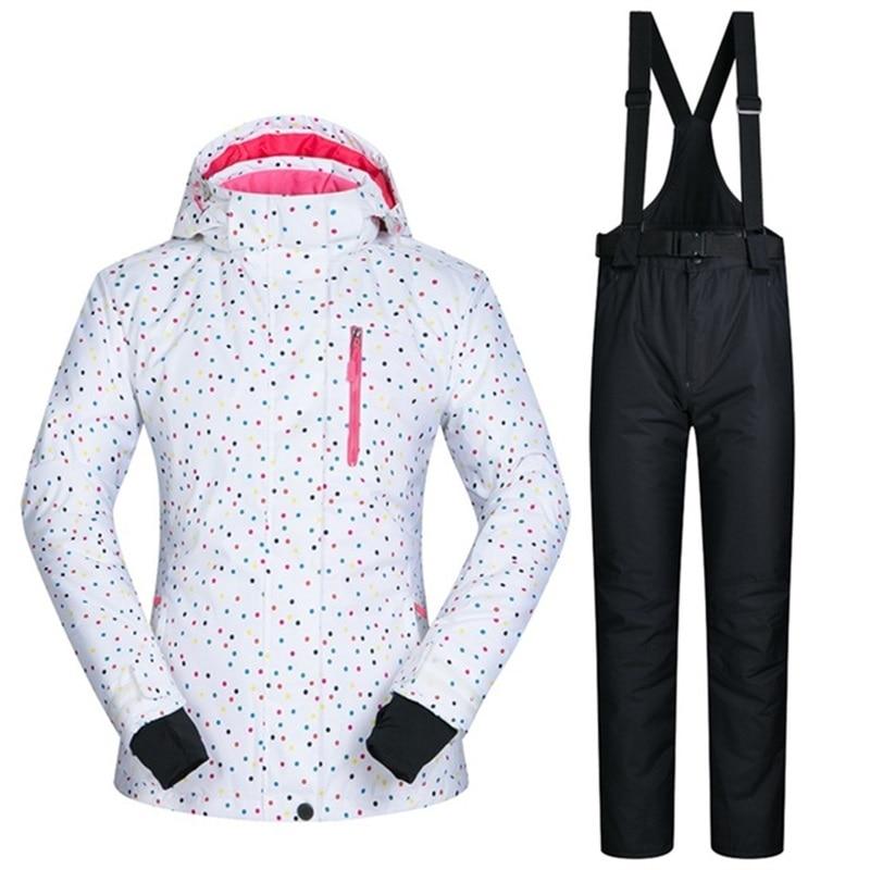 6832 30 De Réductioncombinaison De Ski Blanche Hiver Coupe Vent Respirant Ski Manteaux Et Ensembles Pantalon Résistant à Leau Femme Ski