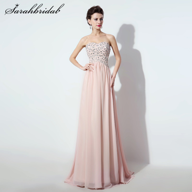 Elegant Chiffon Long Prom Dresses Beads A-Line Sweetheart Floor-Length  Bridesmaid Party Gown e293193a8f67