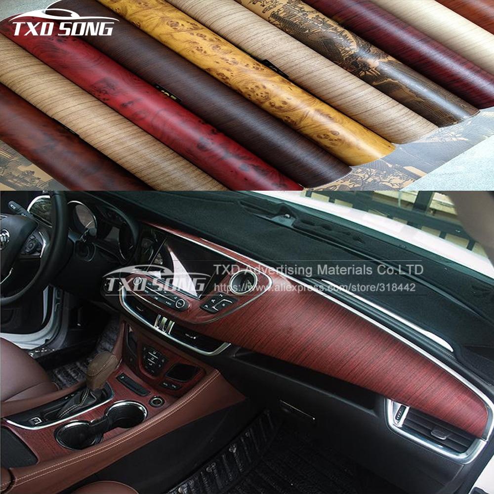 10/20/30/40/50/60X124CM/Lot PVC Furniture Wood Grain Car Wrap Car Film Internal Stickers Waterproof Wood PVC Vinyl Sticker