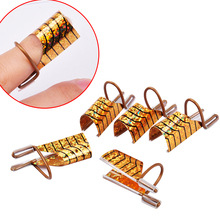 Biutee 5pcs/set  Reusable Dual Silver /Gold Nail Form For Nail Art Making C Curve Acrylic French Tips