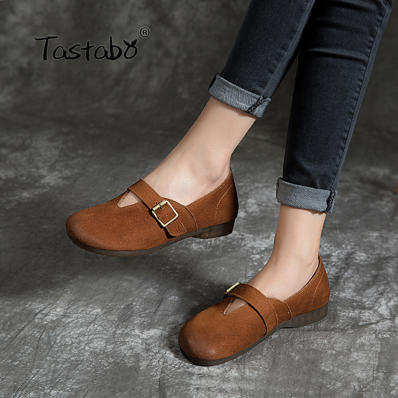 Tastabo 2019 new women s shoes Handmade flat shoes Leather upper lining Retro minimalist casual style