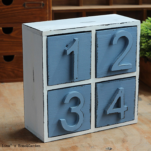 White And Blue Tabletop Chest 4 Drawers Wood Shabby Chic Mini Cabinet