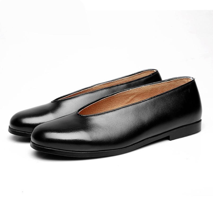 Bouche Cuir Ronde Confortable Hommes Chinois De En Et Black Respirant Chaussures Style Suédé Simples Rétro Papa Casual CexBod