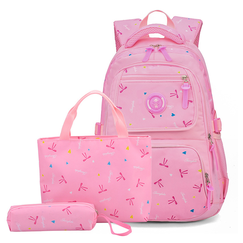 Children Backpack Pencil-Bag Bow-Bags Girl New-Fashion Printing Three-Piece Cute