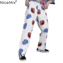 NiceMix Harajuku Cartoon Printing Kids Lovely Loose Leisure Student Girls Summer Straight Trousers