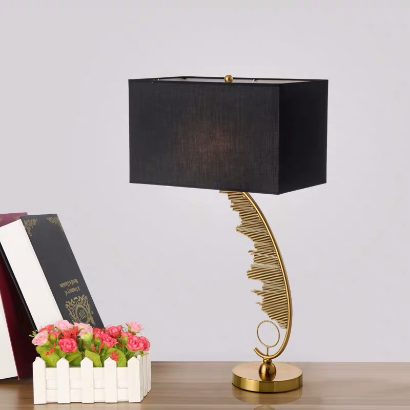 Creative Art Design Bedside Desk Lamp Living room Table Lamp Bedroom Light Home Deco Gold Body Cloth Lampshade E27 Bulb in LED Table Lamps from Lights Lighting