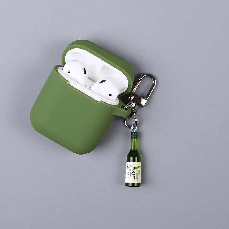 Korean liquor Bluetooth Earphone Case for Airpods Accessories Protective Bag Anti-lost Strap Cartoon DIY Silicone Girl Case