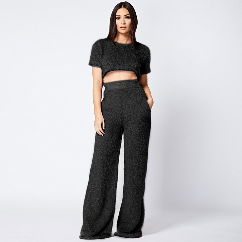 Beyprern Casual Solid Flocking Two Piece Pants Set Outfit Women Fluffy  Short Sleeve Crop Top Wide Length Long Pant Two Piece Set-in Women s Sets  from ... fb3c6e5d23da