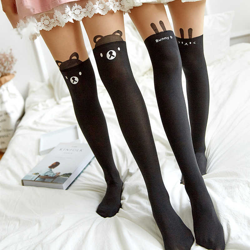 f34ab36fbc4 Lovely Women Nylon Tights Cute Cat Totoro Knee High Tights JanpaneseTattoo Kids  Girls Child Pantyhose Over