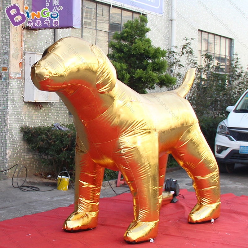 Chinese New Year 3X2 meters big inflatable golden dog customized decorative air-blown dog toy sports