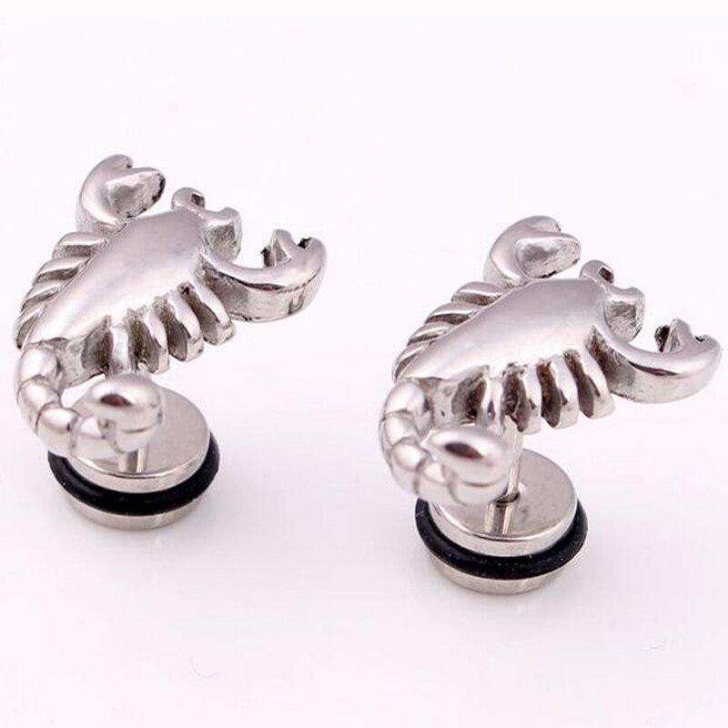 2 pieces Punk Rock Scorpion Stainless Steel Stud Earring Men Wing stud earrings Animal Ear Studs Body Piercing Jewelry