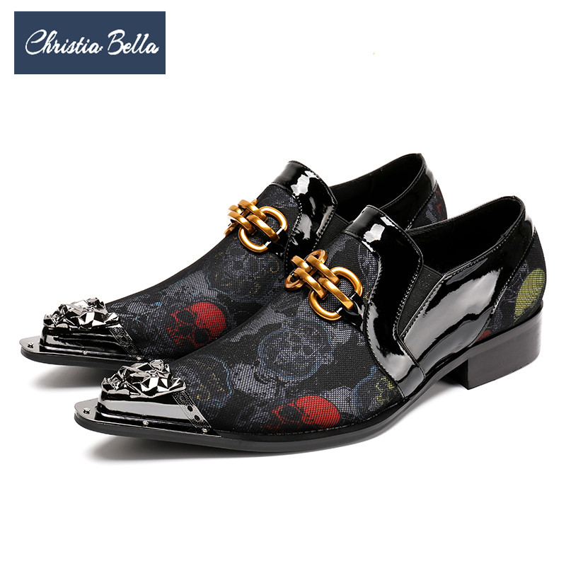 купить Christia Bella Fashion Skull Print Genuine Leather Men Shoes Party Formal Dress Shoes Big Size Metal Pointed Toe Business Shoes по цене 4528.63 рублей