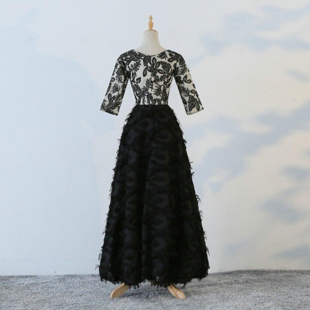JaneVini 2018 nouveau noir col en v femmes soirée robes formelles pailletées 3/4 manches longueur au sol longue mère de la mariée robes - 3