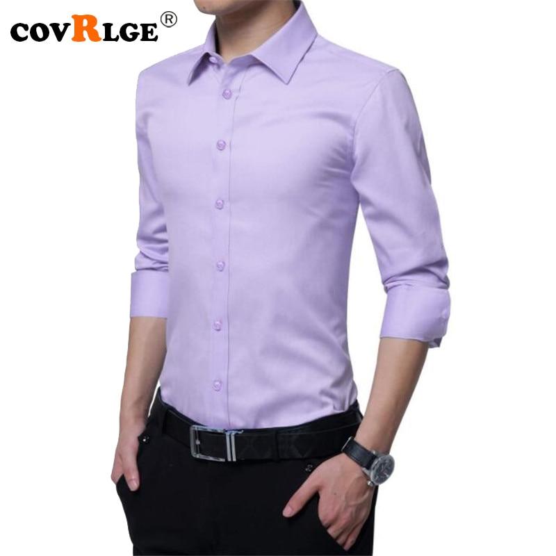 Covrlge Männer Langarm-shirt Solide Slim Fit Männlichen - Herrenbekleidung