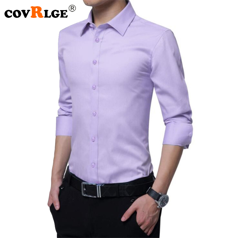 Covrlge Men Long Sleeve Shirt Solid Slim Fit Male Work Clothes Autumn Fashion Man Dress Shirts Brand Clothing 2018 5XL MCL175