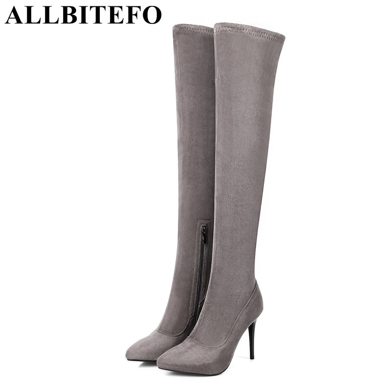ALLBITEFO fashion sexy high heels Stretch fabric over the knee boots brand pointed toe high heel shoes women boots size:33-43