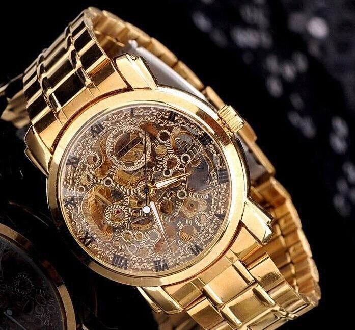 럭셔리 골드 전체 스틸 여성 해골 드레스 시계 자동 손목 시계 MCE 빈티지 로마 시계 캐주얼 Relojes 방수 NW530