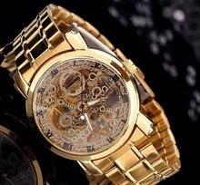 De Oro de lujo de Acero Lleno Mujeres Vestido Mira el Reloj Automático MCE Esqueleto Vintage Romano Reloj Relojes Ocasionales Impermeables NW530
