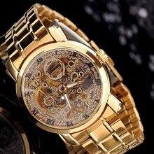 Luxury Gold Full Steel Women Skeleton Dress Watches Automati