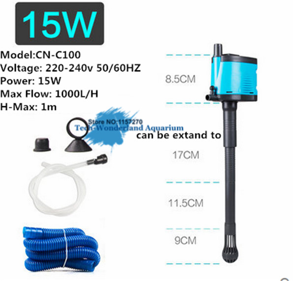 220-240V 15W 25W 35W 45W 3 in 1 Multi Functions Submersible Pump + Filter + Add Oxygen For Aquarium Fish Tank