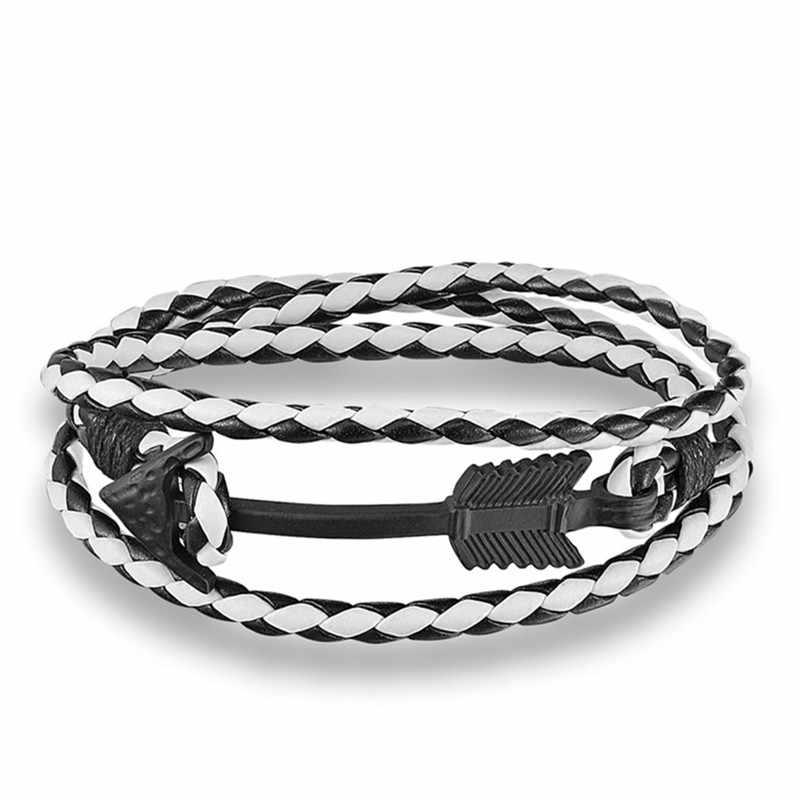 MKENDN New Fashion wielowarstwowa z charmsami skórzana czarna strzałka bransoletka nadzieja kotwica bransoletka dla kobiet mężczyzn prezent dla miłośników