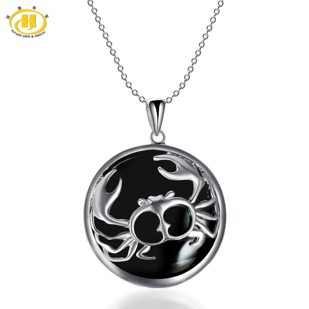 Hutang Cancer Zodiac Pendant Natural Black Jade 23mm Solid 925 Sterling Silver Necklace Women's Men's Fine Jewelry angel wight cancer zodiac