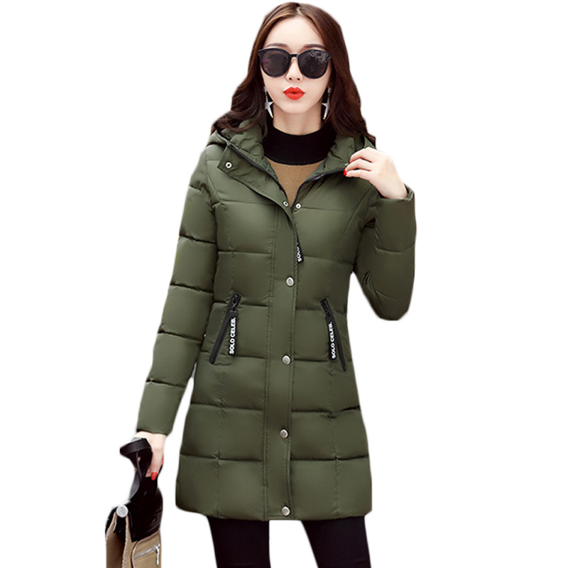 Stylish Women Winter Outwear Womens Slim Long Solid Army Green Quilted Jacket Femme Thick Plus Size Hooded Overcoat M-3XL XH878 куртка turbokolor ewald jacket ss13 green orange m
