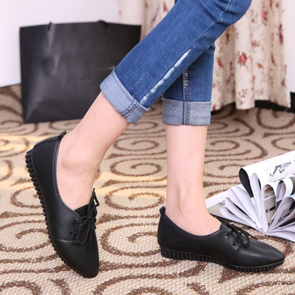 Dames Plat Simples Noir Chaussures Jusqu'à Bout Talon 78 Solide Pointu Femmes Occasionnels Plage D'été blanc Perles Dentelle Femme CRgWnR