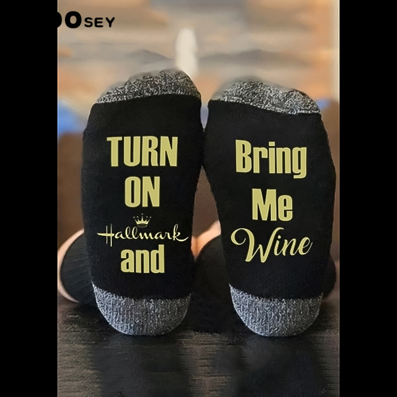 Man socks Casual Letter cotton Unisex Funny socks pop Medium Size Movies Watching couple Don't bother me Fashion hot style image
