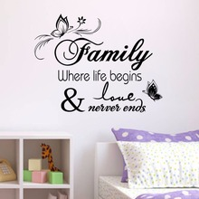 Love Family Where Life Begins Never Ends Removable Wall Stickers Parlor Vinyl Art Bedroom Home Decor Mural Decal