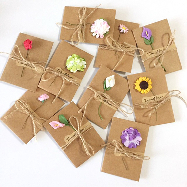 6pcs Handmade Diy Wedding Invitation Card Dry Flower Kraft Paper
