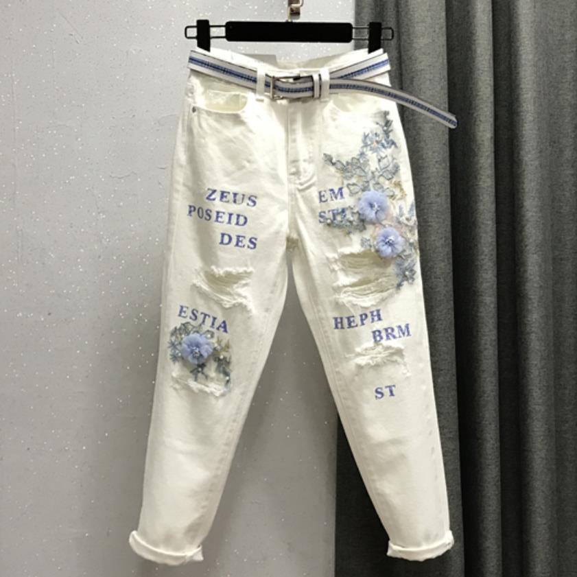 2019 Fashion Women Hole High Waist Harem Pants Letters Flowers Beading White Jeans