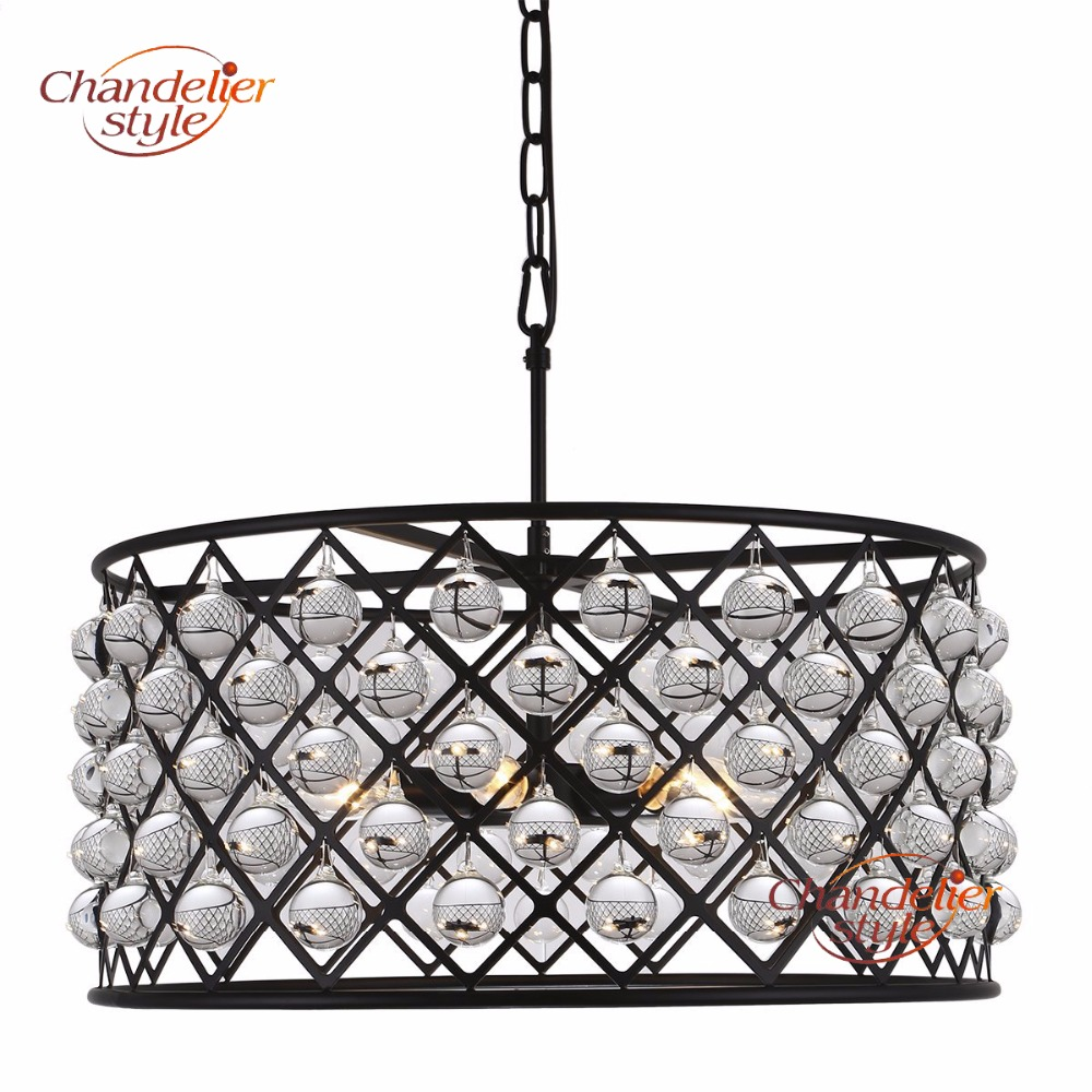 Винтаж хрустальная люстра светильник Стекло барабан люстры подвесные света для гостиной Обеденная украшения
