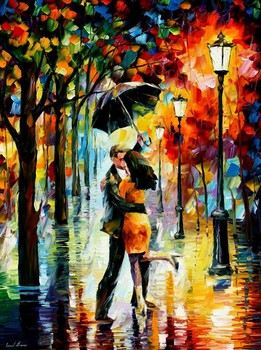 Painting for sale Colorful oil paintings Canvas dance under the rain Modern Wall Art Home Decor High quality Handpainted