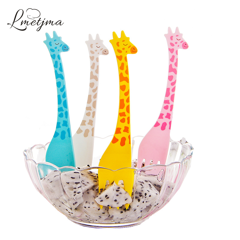 Lmetjma 12pcs set giraffe party forks pp fruit food picks for Food bar giraffe