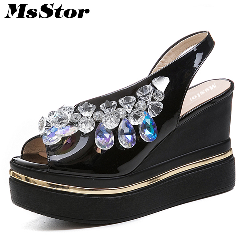 MsStor Round Toe Open Toed Women Sandals Fashion Crystal High Heels Women Sandals New Summer Wedges High Heel Sandal Woman Shoes 2018 summer new arrived strap design wedges women sandals peep toe comfort mid heel sexy lady sandal fashion student casual shoe