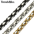Trendsmax plata oro bizantina caja de acero inoxidable collar mens boys collar de cadena de joyería al por mayor de 8mm de ancho knm91