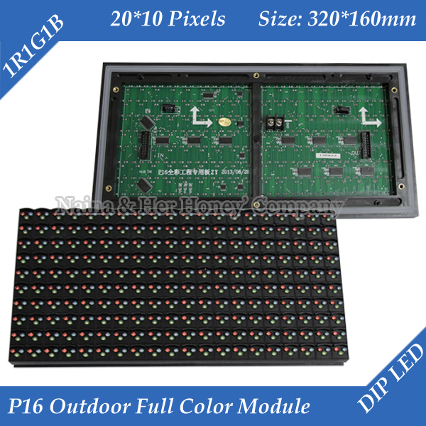 P16 Outdoor RGB Full Color Window TEXT LED Display Module 320*160mm 20*10 Pixels