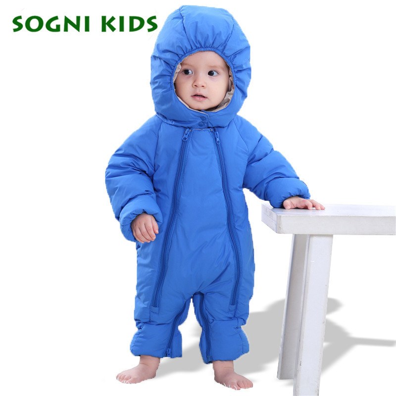 Baby Boys Girls Winter Clothes Onesie Cotton Rompers Thick Warm Infant Brand Jumpsuit Hooded Kid Outerwear 2017 Overalls Outfit  6003 aosta betty baby rompers top quality cotton thickening clothes cute cartoon tiger onesie for baby lovely hooded baby winter