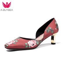 A-BUYBEA New Women Shoes Basic Style Elegant Ladies Pumps Mid Heels Slip-on Office Red Silk Flower Woman