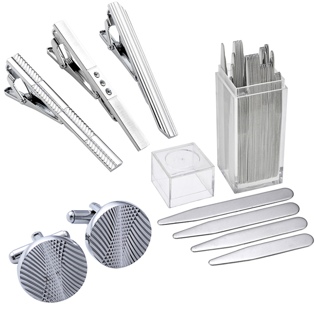 High Quality Stainless Steel Cuff Link and Tie Clip Sets Metal Collar Stays Shirt Inserts With Gift Box For Business Men Boy BF