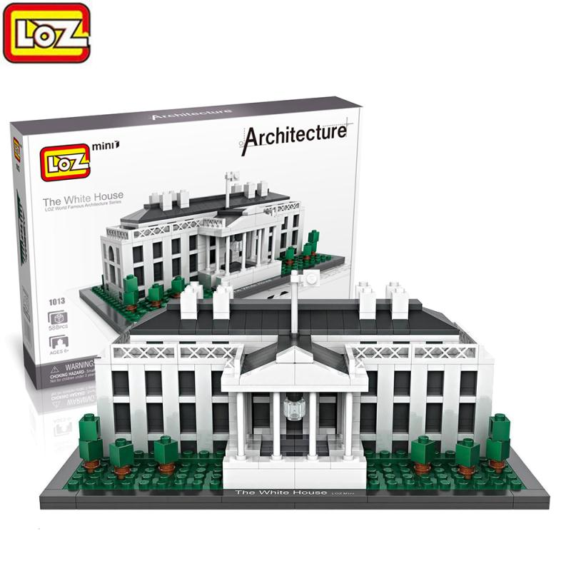 America President White House LOZ Mini Building Block Architecture Model Building Bricks Kits Early Educational Gifts Toy loz 280pcs l 9522 deadpool action figure building block educational diy toy