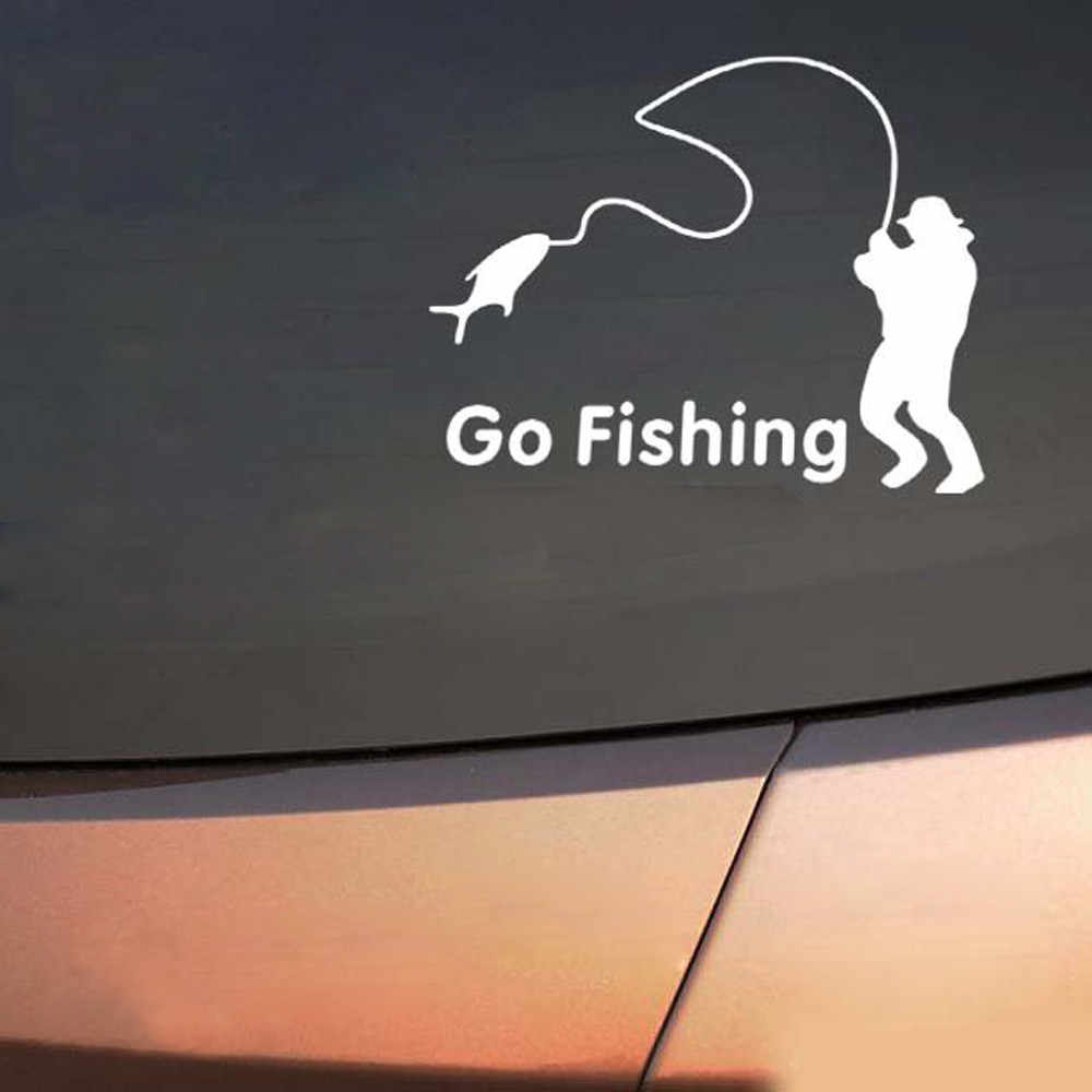 kongyide car stickers Go Fishing Car Sticker Truck Window Bumper Decal White auto car stickers styling car decoration flowers