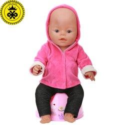 Baby Puppe Kleidung Rot Mit Kapuze Jacke + Schwarze Hose Anzug fit 43 cm Baby Puppe Kleidung Puppe Zubehör 541