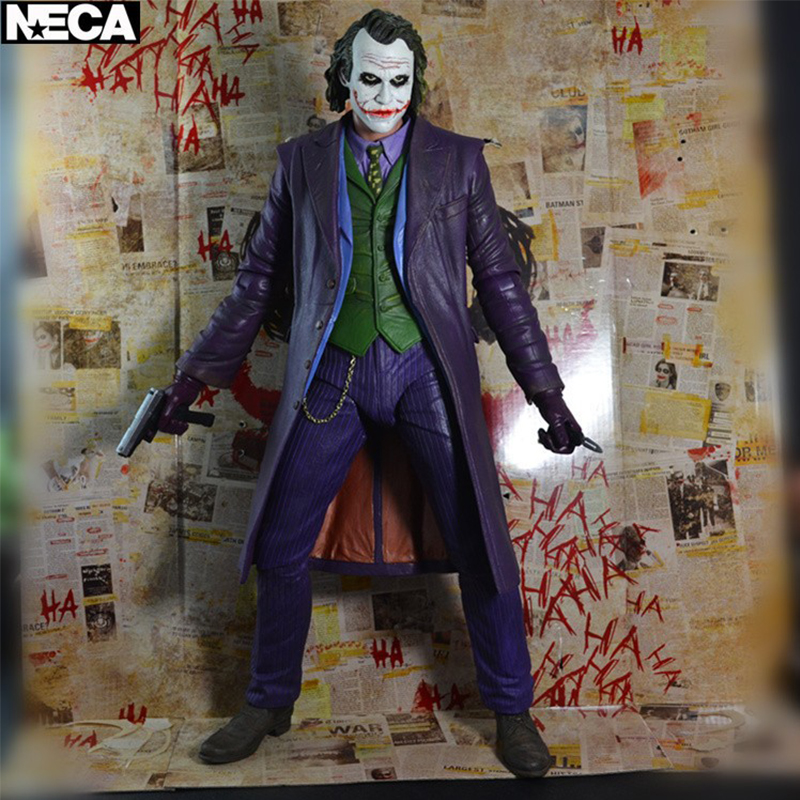 NECA Batman The Dark Knight - The Joker With Weapon (Heath Ledger) Action Figure 1/4 Scale Model No Box Anime Toys 30CM neca dc comics batman arkham origins super hero 1 4 scale action figure