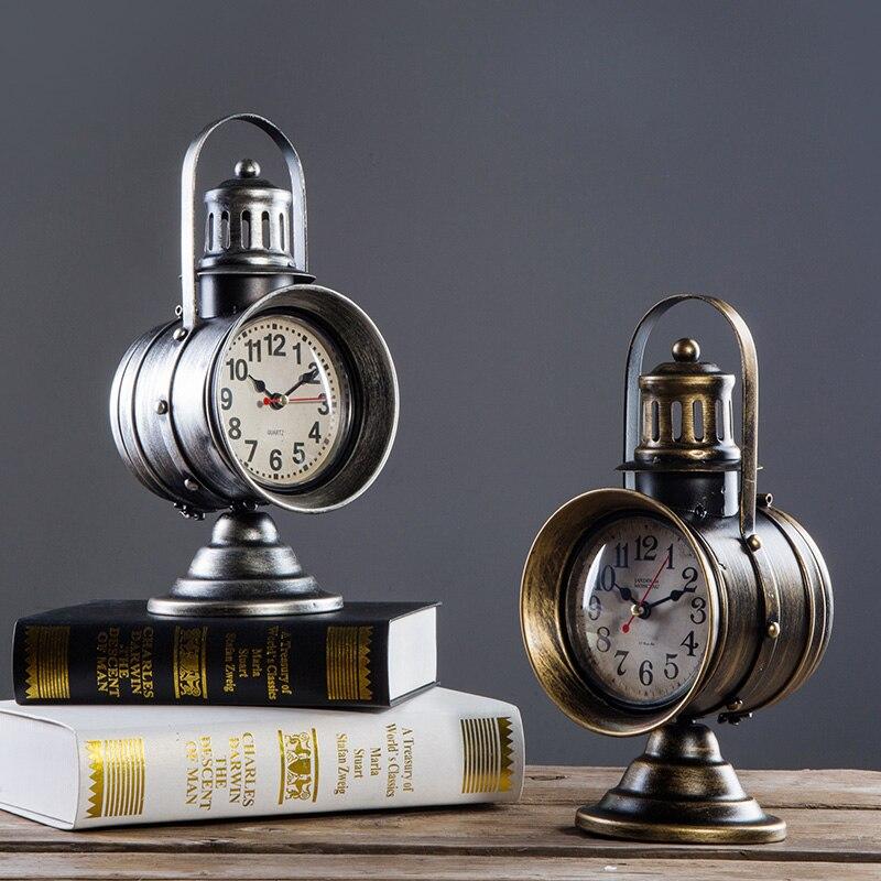 Relojes de mesa hechos a mano con forma de reflector Retro creativo americano movimiento silencioso cuarzo, adornos de reloj para sala de estar dormitorio-in Relojes de mesa y de escritorio from Hogar y Mascotas    1