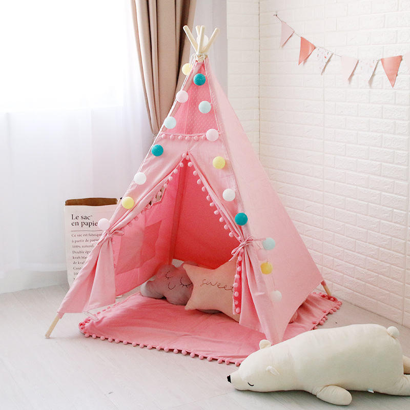 Pink Canvas Pom Pom Kids Play Teepee Tipi Tepee Play Tent with Carry Case flower decorated kids headband with pom pom