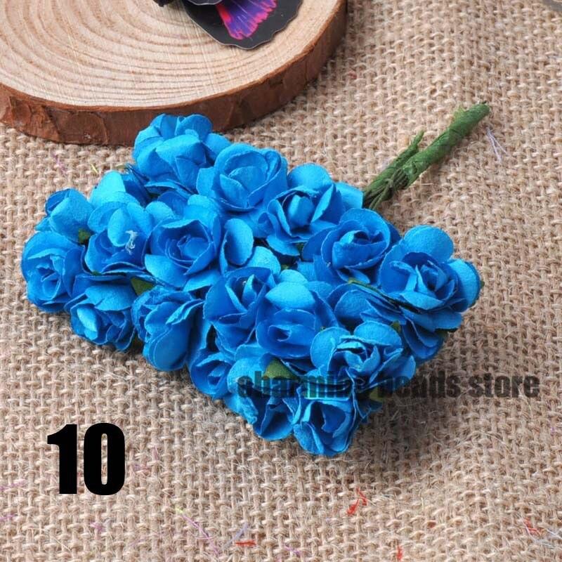 24 шт. 15 мм мини искусственный Бумага розы букет Свадебный декор Скрапбукинг DIY cp0022x - Цвет: 10