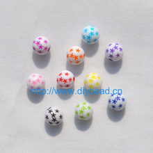 100 pcs DIY Handcraft Department Mix Color Star Balls 8MM Round Shape Bracelet Accessories Acrylic Beads Fashion Jewelry Finding(China)