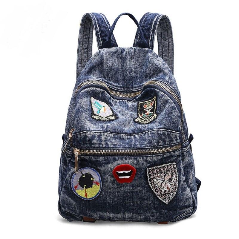 Vintage décontracté Preppy Style Appliques avec chaîne Denim sac à dos sacs d'école Jeans femmes Daypacks sac à bandoulière bolsa feminina